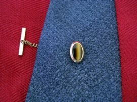 Vintage Tie Tack set with Real Tiger Eye Oval (SOLD)